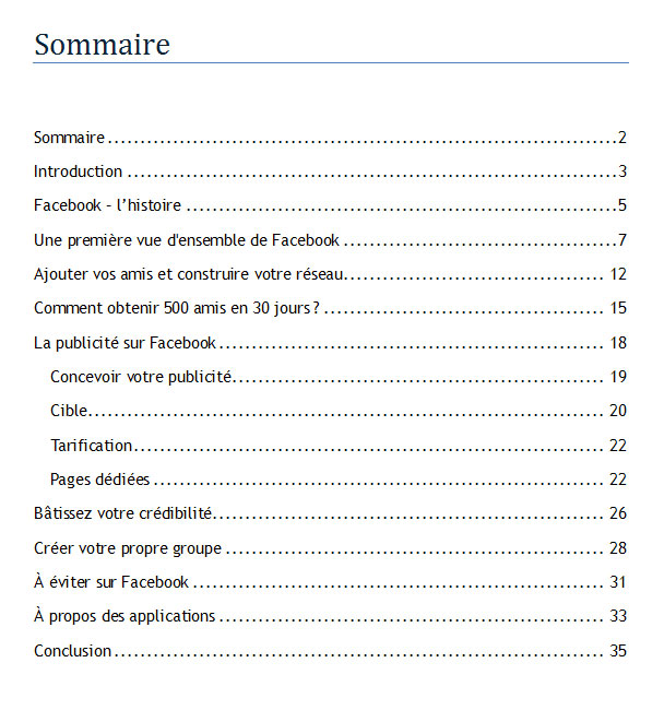 sommaire facebook